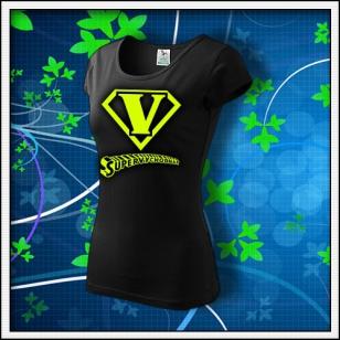 SuperVýchodňár - dámske tričko so žltou neónovou potlačou