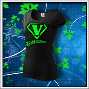 SuperVýchodňár - dámske tričko so zelenou neónovou potlačou