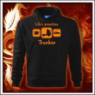 Life´s priorities - Trucker - čierna mikina s oranžovou neónovou potlačou