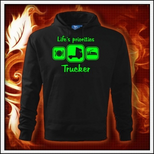 Life´s priorities - Trucker - čierna mikina so zelenou neónovou potlačou