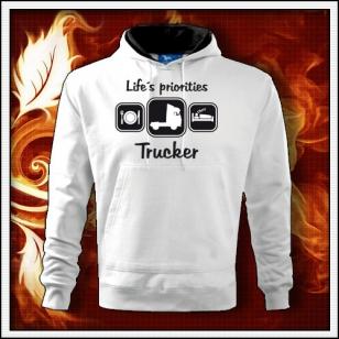 Life´s priorities - Trucker - biela mikina