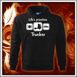 Life´s priorities - Trucker - čierna mikina