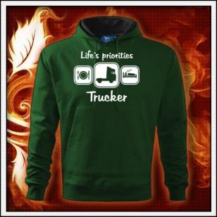 Life´s priorities - Trucker - fľaškovozelená mikina