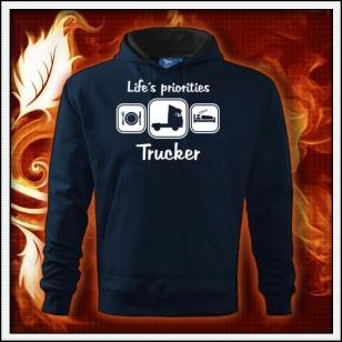 Life´s priorities - Trucker - tmavomodrá mikina