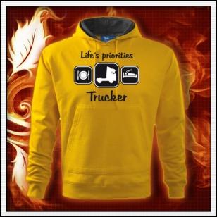 Life´s priorities - Trucker - žltá mikina