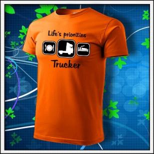 Life´s priorities - Trucker - oranžové