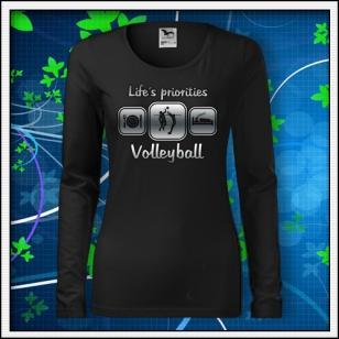 Life´s priorities - volleyball - SLIM dámske čierne reflexná potlač