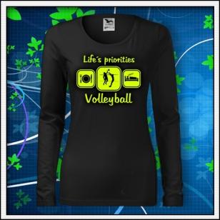 Life´s priorities - Volleyball - SLIM dámske čierne so žltou neónovou potlačou