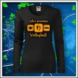 Life´s priorities - Volleyball - SLIM dámske čierne s oranžovou neónovou potlačou