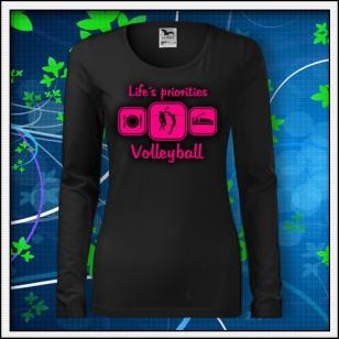 Life´s priorities - Volleyball - SLIM dámske čierne s ružovou neónovou potlačou