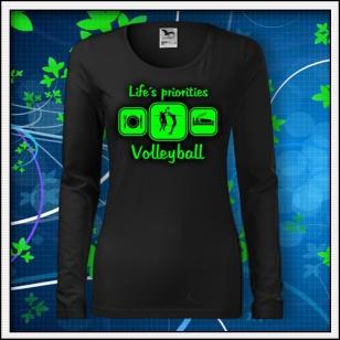 Life´s priorities - Volleyball - SLIM dámske čierne so zelenou neónovou potlačou