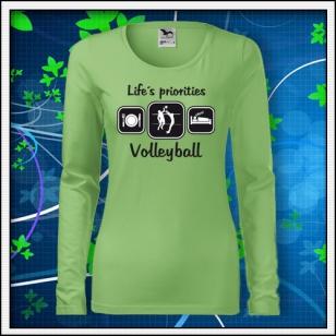 Life´s priorities - Volleyball - SLIM dámske hráškovozelené