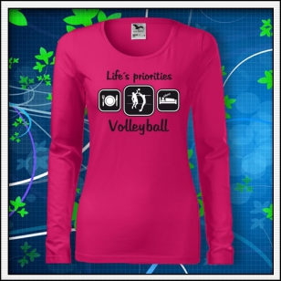 Life´s priorities - Volleyball - SLIM dámske malinové