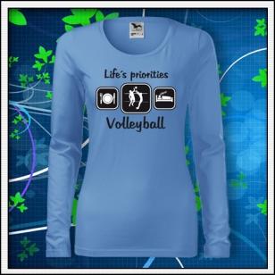 Life´s priorities - Volleyball - SLIM dámske nebeské modré