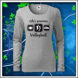 Life´s priorities - Volleyball - SLIM dámske tmavosivý melír