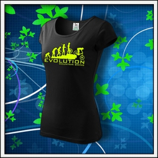 Evolution Mountain Biking - dámske tričko so žltou neónovou potlačou