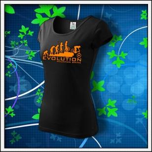 Evolution Mountain Biking - dámske tričko s oranžovou neónovou potlačou