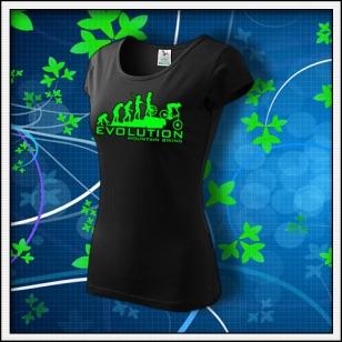 Evolution Mountain Biking - dámske tričko so zelenou neónovou potlačou