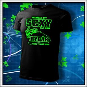 Sexy Rybár - unisex so zelenou neónovou potlačou