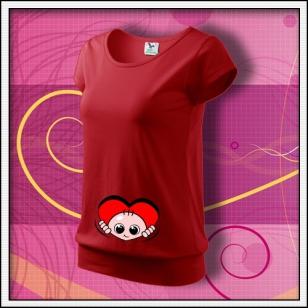 Vykúkajúce dieťa (srdce) - červené