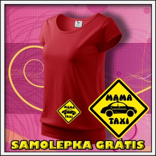 Mama Taxi - červené + SAMOLEPKA