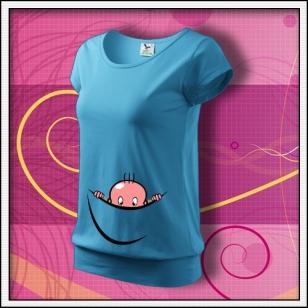 Vykúkajúce dieťa (vak) - tyrkysové tričko pre tehotnú