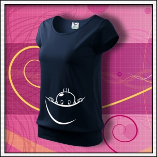 Vykúkajúce dieťa (vak) - tmavomodré tričko pre tehuľku, vtipne tricko pre tehotnu