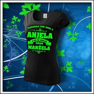 Požiadala som Boha - dámske tričko so zelenou neónovou potlačou