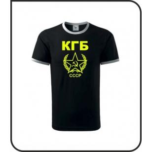 VÝPREDAJ !!! - KGB / CCCP - 1 ks unisex čierne s bielym lemom so žltou neónovou potlačou XXL