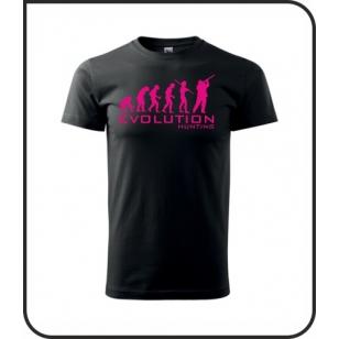VÝPREDAJ !!! - Evolution Hunting - 1 ks unisex čierne tričko s ružovou neónovou potlačou XS