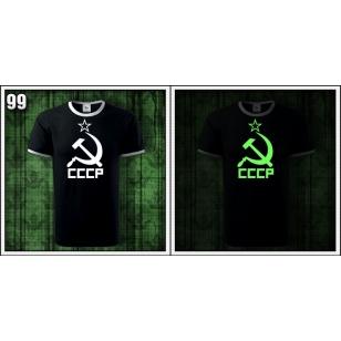VÝPREDAJ !!! - CCCP - 1 ks unisex čierne tričko so svietiacou potlačou XXL