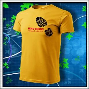 VÝPREDAJ !!! - Was here! Chuck Norris - 1 ks unisex žlté tričko M