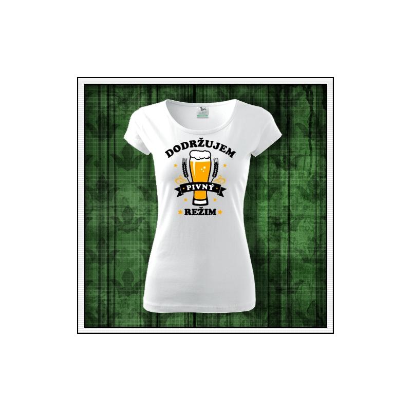 Dámske vtipné pivné tričko, vtipné tričká pre pivárku, vtipné darčeky pre pivárku, vtipné tričko s potlačou pivný režim