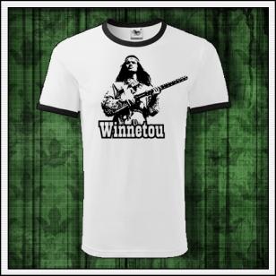 Retro tričko Winnetou s puškou na unisex tričkách s lemom vhodné ako retro darček pre muža a ženu