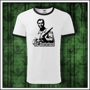 retro dvojfarebné tričko Old Shatterhand s vyobrazením pokrvného brata náčelníka Apačov Winnetoua