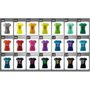 Humorné tričká s potlačou Zákaz kŕmiť chudnem pre oslávencov na 17 farebných dámskych tričkách