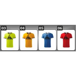 4 farebné prevedenia unisex retro dvojfarebných tričiek s podobizňou Sam Hawkens