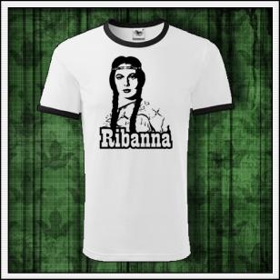 retro dvojfarebné tričko Ribanna vhodné aj ako vianočný retro darček pre manžela