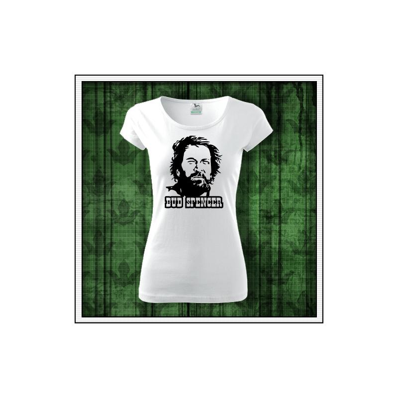 Dámske biele retro tričko Bud Spencer, retro darček pre ženu
