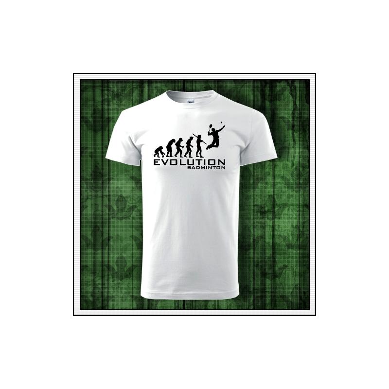 Vtipné tričko Evolution Badminton darček pre bedmintonistu na bedminton