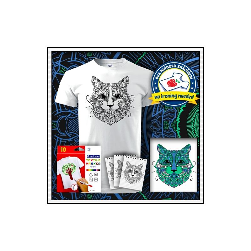 biele unisex antistresové vyfarbovacie tričko s mandalou mačka