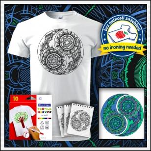 biele unisex antistresové vyfarbovacie tričko s mandalou Jing a Jang - Yin a Yang