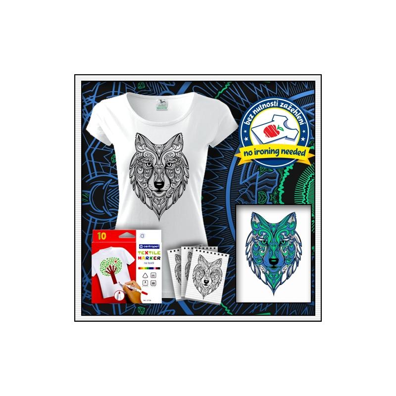 biele dámske antistresové vyfarbovacie tričko s mandalou vlka
