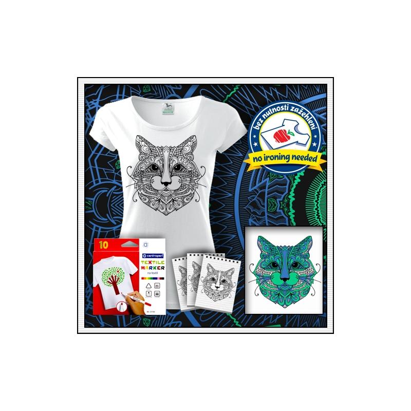 biele dámske antistresové vyfarbovacie tričko s mandalou mačka