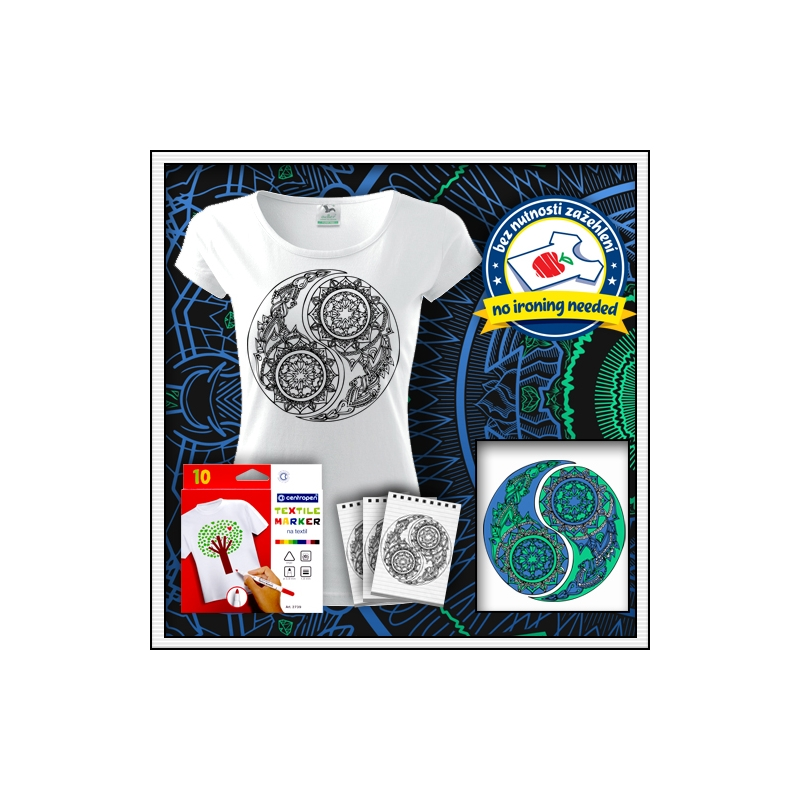 biele dámske antistresové vyfarbovacie tričko s mandalou Jing a Jang - Yin a Yang
