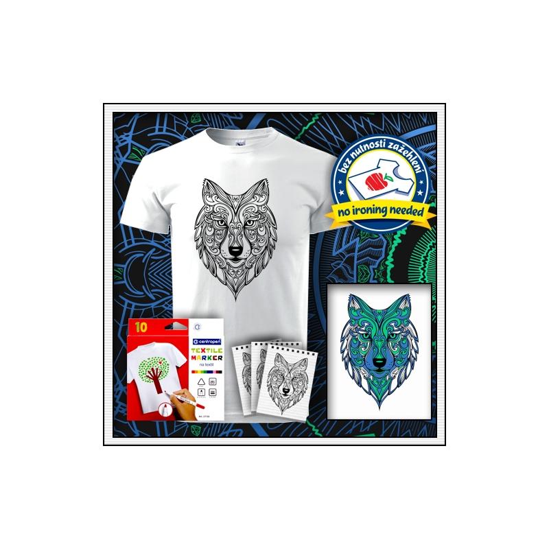 Detské biele antistresové vyfarbovacie tričko s mandalou vlka