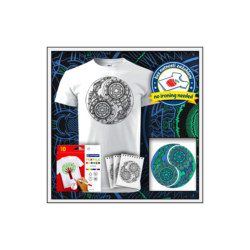 Detské biele antistresové vyfarbovacie tričko s mandalou JIN a JANG - YIN A YANG