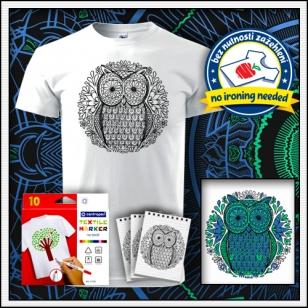 Detské biele antistresové vyfarbovacie tričko s mandalou SOVA