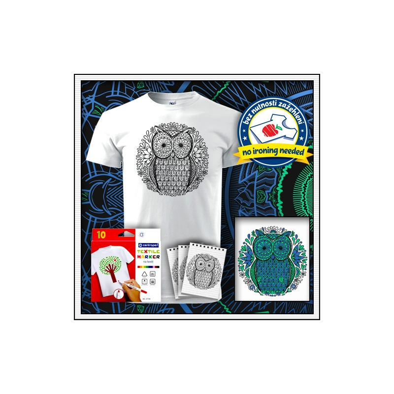 antistresová omalovanka sova biele unisex vyfarbovacie tričko s mandalou sovy