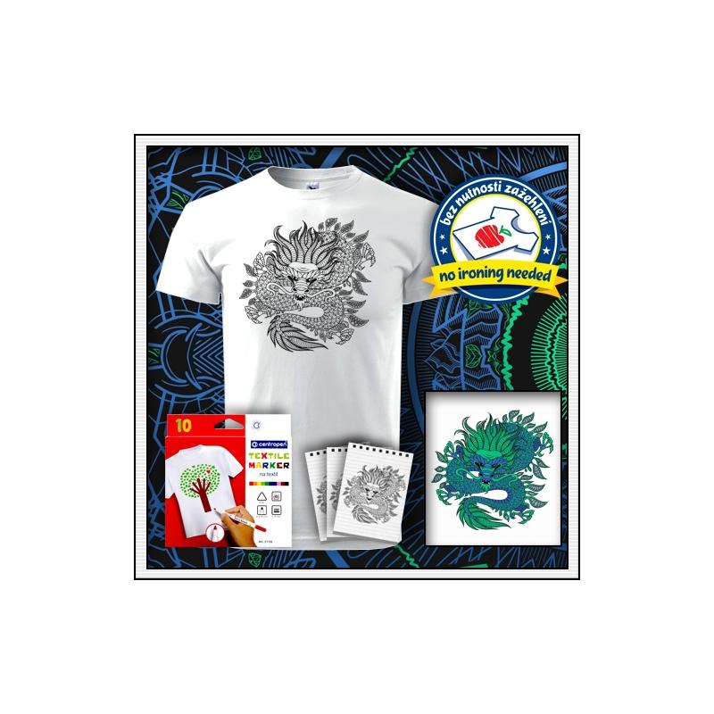 antistresová omalovanka drak biele unisex vyfarbovacie tričko s mandalou draka